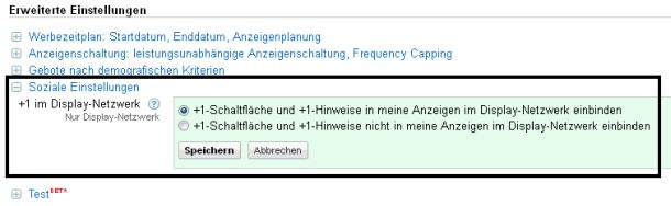 Soziale Einstellungen AdWords-Display