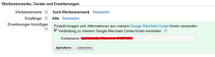AdWords Einstellungen Produkt Extensions